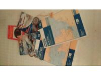 Nautical charts and booklets plus compass and dividers