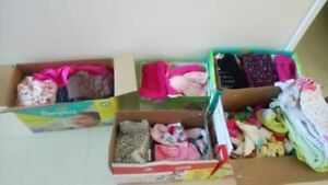 5 diaper boxes of baby girl cloths,shoes and toys
