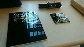 Glass table mat set. Mats, coasters, napkin rings.
