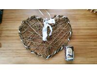 Set of 5 wicker hearts