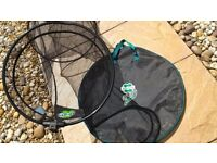 Fishing keep net, rarely used for fresh water fishing, comes with own spike and bag.