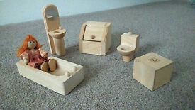 Dolls house wooden furniture & family and pets from John Lewis (PLAN), Excellent condition!