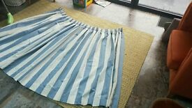 Blue Stripe Pencil Pleat Lined Curtains