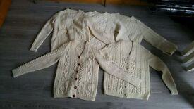 Selection of ladies and gents aran jumpers