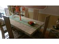 6 Seat Marble Dining Table w/ Chairs