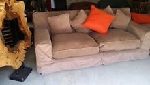 Brown three seater couch with pillows Oatley Hurstville Area Preview