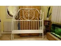 Ikea white metal double bed frame with optional mattress