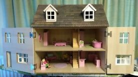 Wooden Doll's House with Furniture & People