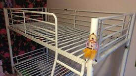 Off White Metal Single Bunk Beds (no mattresses) - LE6