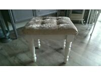 Bedroom stool with champaign velvet seat pad