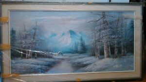 """Very Large, beautifully matted and framed oil painting-""""Winter"""""""