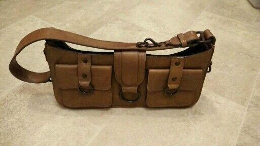 Designer Brown genuine leather handbag