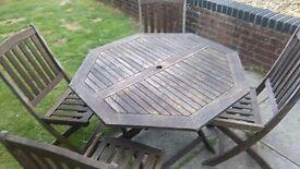 Teak garden set , table + 4 chairs