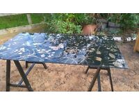 Pretty GLASS DESK - BLACK with birds / butterflys / flowers design - in very good condition
