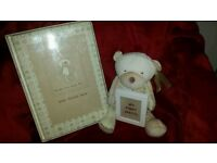 Unisex baby record book, teddy & piture frame