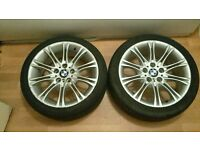 "×2 BMW 18"" MV2 8J WHEELS WITH TYRES E36, E46, E90, E91, E92, E93"