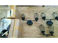 6 x Industrial style wall lights