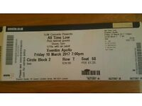 All Time Low tickets x2 for Eventim Apollo London Friday 10 March 2017