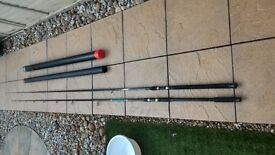 Two times carp fishing / fresh water fishing rods, well used with still plenty of life in them.