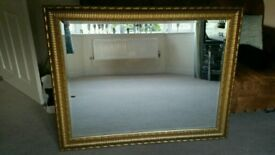 Very large good quality bevelled gold framed mirror