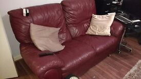 Old Leather Sofa, Manuel Recliner - Some Life left in Them (2 x 2 Seater Sofa)