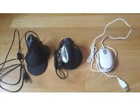 2 x Ergonomic Vertical Mouse and 1 x Normal mouse - small - for sale - Big Bargain!! 75% Discounted
