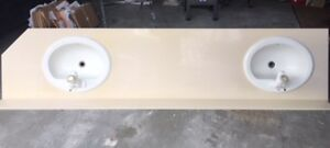 Cultured Marble Countertop with sinks and faucets