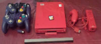 Nintendo Wii Red (soft modded/Hacker) + 3 games,cable & pad Watc