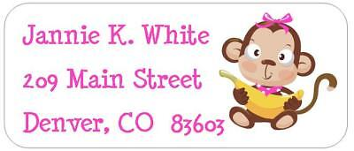 Baby Girl Return Address Labels - 60 Baby Girl Monkey Return Address Labels