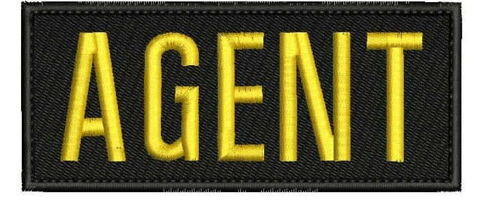 AGENT embroidery patch 2.x5 hook ON BACK gold letters