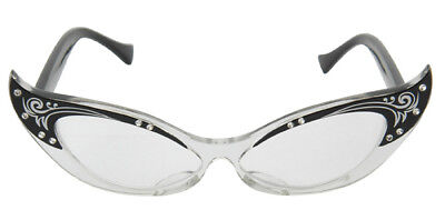 BLACK & CLEAR VINTAGE CAT EYE GLASSES HALLOWEEN COSTUME ACCESSORY - FUN TO - Halloween Costume Wearing Glasses
