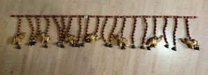 Toran Small Wooden Beads Door Hanger with Elephants and Bells