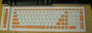 2.4 GHz Pink-Orange Wireless Roll Up Flexible Computer Keyboard
