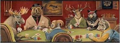 Wallpaper Border Moose, Bear, Elk, Fox, Sheep Poker Night! Chesapeake Card Game