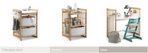 Stokke Change Table (Cherry Wood), Baskets, Change Pad and Cover