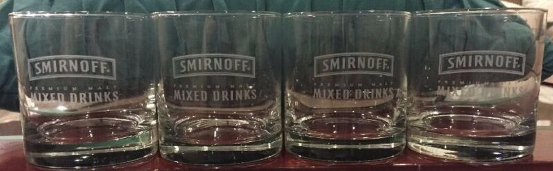 Four (4) Etched Smirnoff Rock Glasses Libbey Finedge MINT New Free Ship