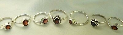 Garnet Sterling Silver Ring Varied designs Small and Child Sizes Red Faceted  Design Garnet Ring
