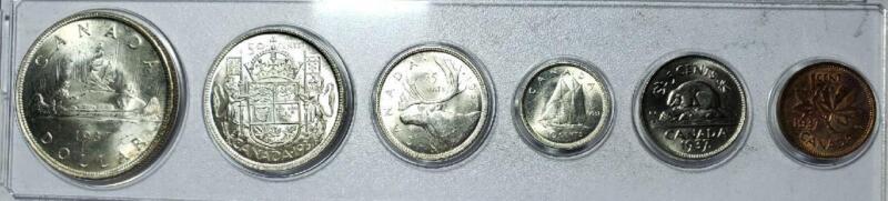 Canada, 1937 Brilliant Uncirculated Set Cent Thru Dollar, 1.1 Ounces Silver