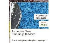 5 x bags of decorative glass chippings in turquoise glass chippings 10-14mm