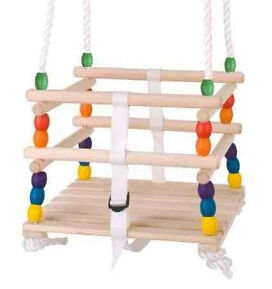 NEW! CRADLE SWING SEAT FOR BABY TODDLER OR CHILD WOODEN BEADS TOY