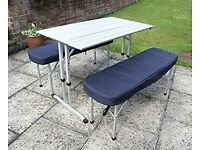 Sunncamp Lightweight Aluminium Family Camping Table and Benches with cushions in Carry Bag