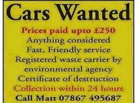 Wanted scrap cars vans 4x4s old farm machinery