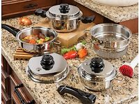 Brand New Saladmaster Cooking System Personal Set with Box + Skillet with Cover