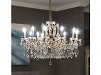 Beautiful NEW 12 Branch Shallow Crystal Chandelier. Brand new still in box