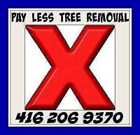 PAY LESS TREE, 416-206-9370 TREE AND BRANCH REMOVAL SERVICE.