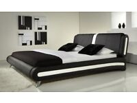 KINGSIZE ITALIAN FAUX LEATHER BED - 5FT