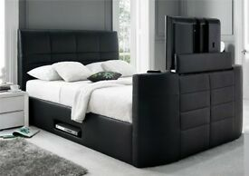 Black Friday SALE TV BED ELECTRIC DOUBLE BLACK LEATHER NEW TV BED