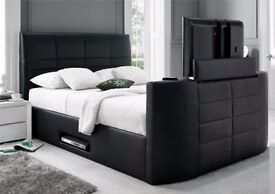 Black Leather Storage TV Bed