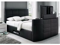 Black Leather Storage TV Bed