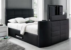 *JANUARY SALE* CASINO KINGSIZE TV LEATHER BED FRAME + FREE QUILT*KINGSIZE AVAILABLE